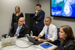 President Barack Obama participates in a Twitter Q&A at the National Hurricane Center