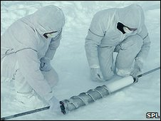 Scientists studying ice core