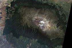 The disappearing snowcap of Mount Kilimanjaro, from space.