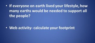 Calculating your Ecological footprint