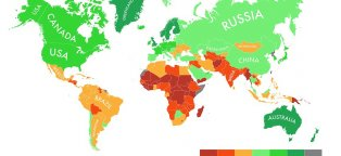 Global climate change map